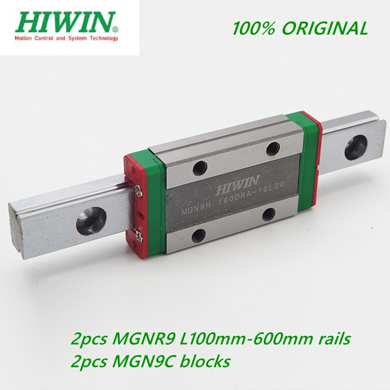 2pcs Original Hiwin Linear Rail MGNR9 -L100 - 600mm + 2pcs MGN9C / MGN9H Linear Block