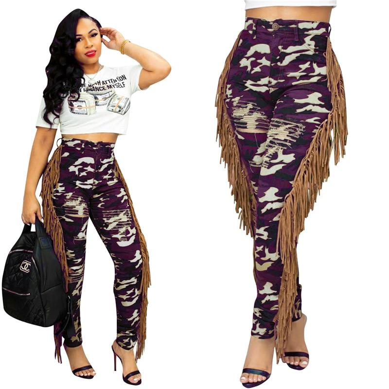 Adogirl Side Tassel Holes Camo Pants Button Fly High Waist Slim Skinny Trousers Women Fashion Casual Leggings Pencil Pants Pants & Capris Women Bottom ! Plus Size Women's Clothing & Accessories