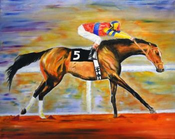 "HIGH QUALITY HAND PAINTED OIL PAINTING ON CANVAS : ""RACE HORSE"""