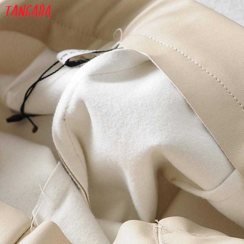 Tangada women white skinny PU leather pants stretch zipper female autumn winter pencil pants trousers 6A04 45