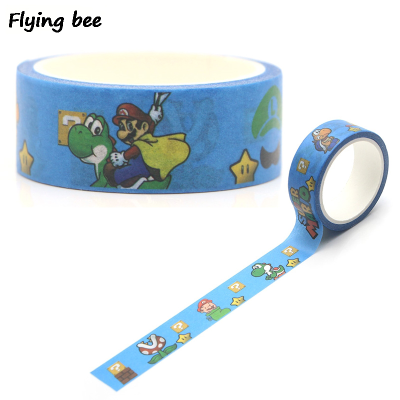 Flyingbee 15mmX5m Super Mario Bros Washi Tape Paper DIY Decorative Adhesive Tape Stationery Funny Masking Tapes Supplies X0287