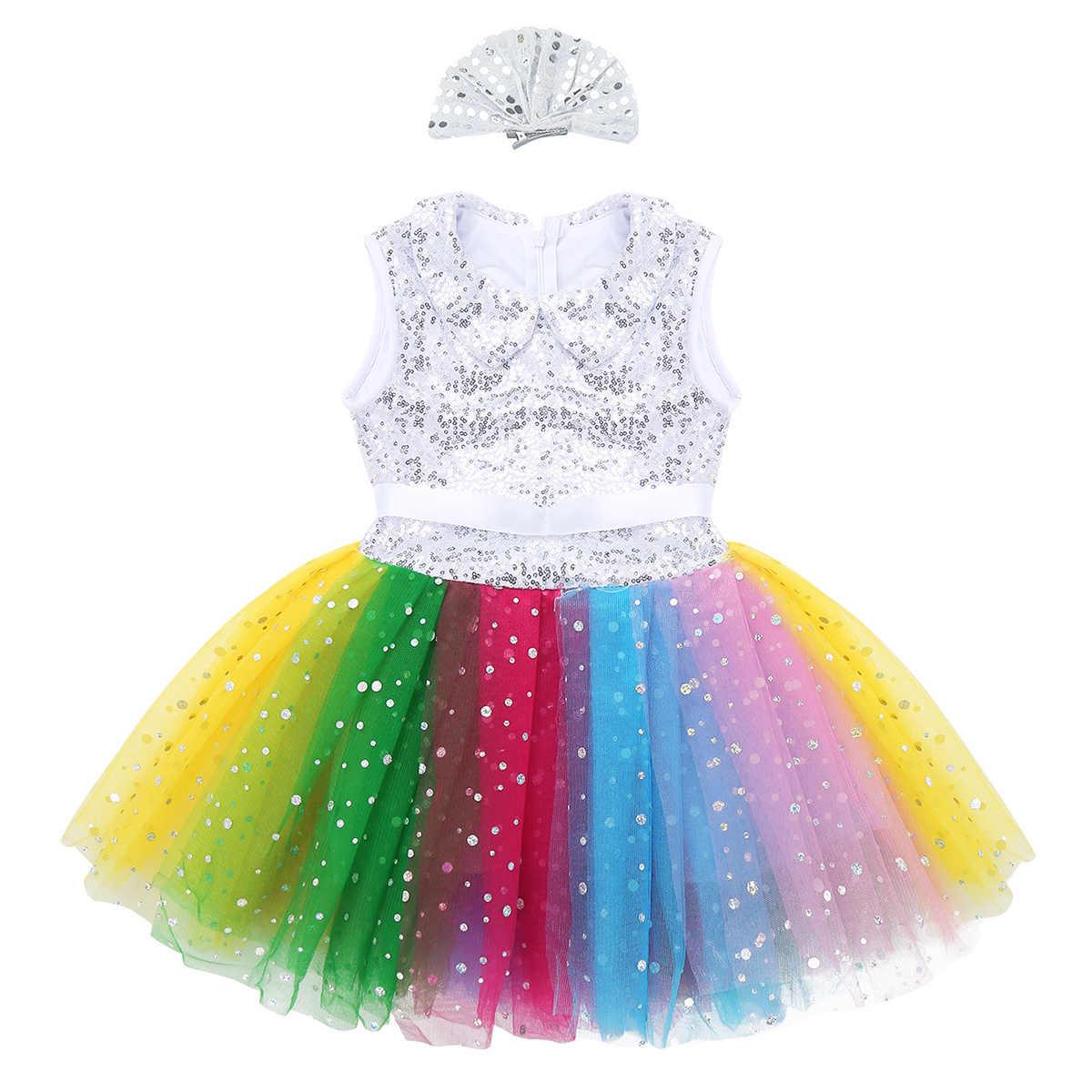 Niños Niñas sin mangas lentejuelas Arco Iris malla Ballet tutú vestido con pinza para el pelo conjunto niños moderno etapa actuación traje de baile