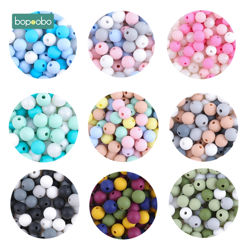 Bopoobo 9mm 50pc Silicone Beads Round Baby Teether Eco-friendly BPA Free Baby Teething Pacifier Chain Bead Tiny Rod Baby Product