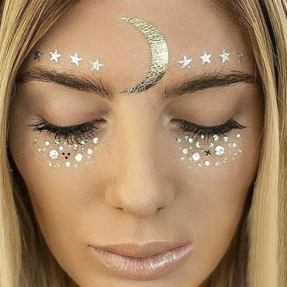 2021 novo rosto de ouro tatuagem temporária à prova dwaterproof água bloqueado sardas maquiagem adesivos olho decalque atacado