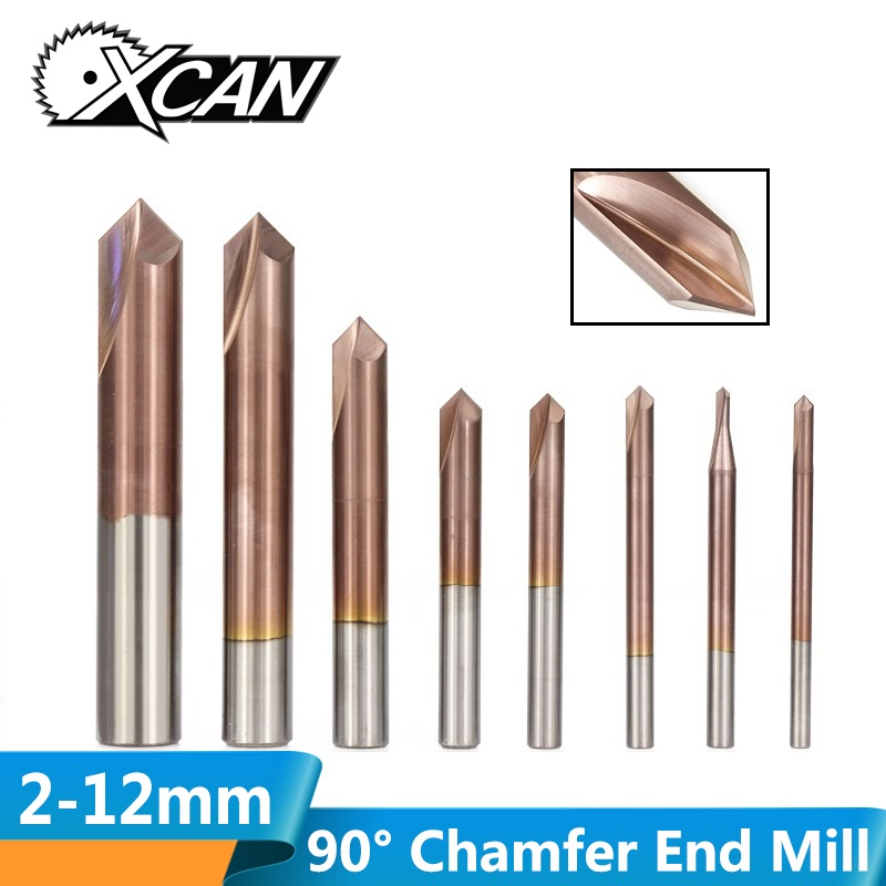 XCAN 1pc 3-12mm 2 Flutes 90 Degrees Chamfer End Mill CNC Router Bit TiCN Coated Carbide End Mill Chamfering Milling Cutter