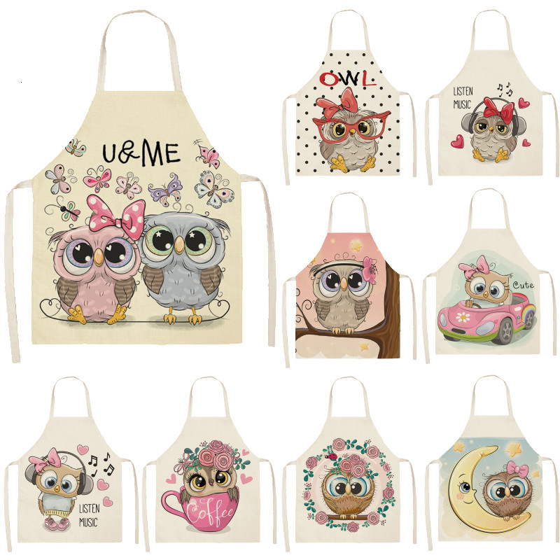 1Pcs Owl Sleeveless Apron Cotton Linen Flower Printed Kitchen Brief Pinafore Women Home Cooking Baking Waist Bib 53*65cm WQL0148