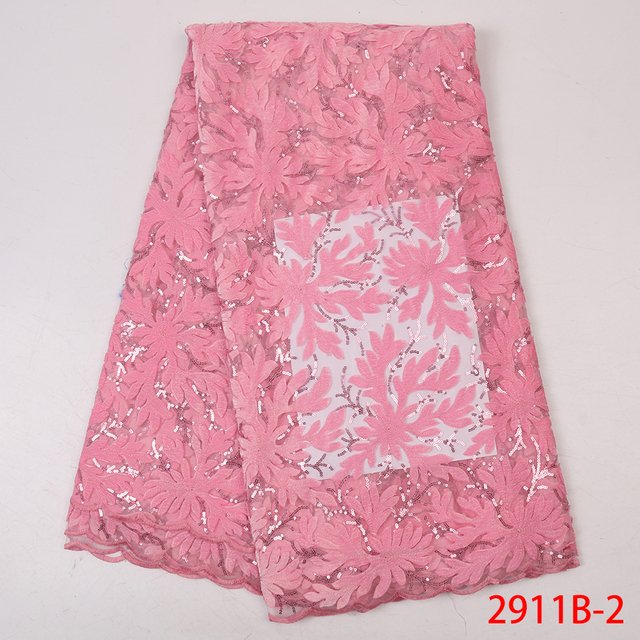 Baby Pink Velvet Lace African Lace Fabrics Wholesale Nigerian Tulle Mesh Lace Sequence Lace Fabric for Bridal Materials APW2911B