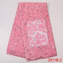 Tissus en dentelle velours rose bébé, tissu en dentelle africaine, Tulle nigérian, tissu en dentelle à séquence maille pour matériaux de mariée, APW2911B