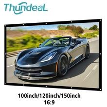 Thundeal 16:9 100 120 150インチ投影プロジェクタースクリーンキャンバス白カーテン画面3Dフィルムポータブルウォールマウント投影