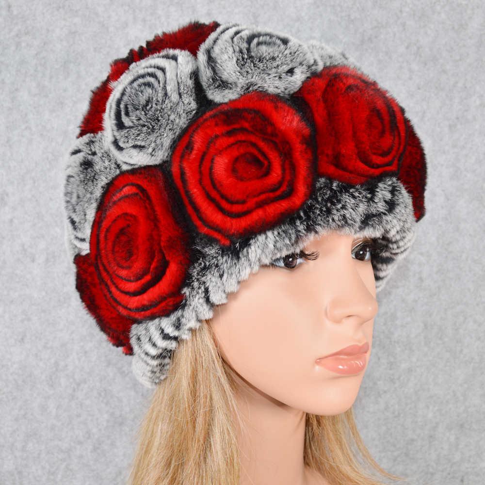 ขายร้อนฤดูหนาวผู้หญิงKnitted100 ธรรมชาติReal Rexกระต่ายหมวกขนสัตว์หญิงอบอุ่นReal Rexกระต่ายขนสัตว์หมวกดอกไม้ขนสัตว์Skulliesหมวก
