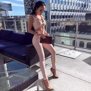 Image 2 - 2020 סתיו חדש נשים אופנה סקסי 2 חתיכה שני חלקים סט שרוולים תחבושת ארוך מכנסיים מתכת יהלומי אבזם מועדון מסיבת סט