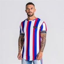 gianni kavanagh Short sleeve t shirt Men Fitness Slim Street Blue T-shirt Siksilk Gyms Tees Tops Summer Fashion Casual clothi(China)
