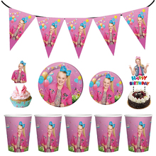 JOJO Siwa Theme Party Decoration Tableware Paper Cup Plate Banners Cake Toppers Baby Shower Kids Birthday Party Favor Supplies