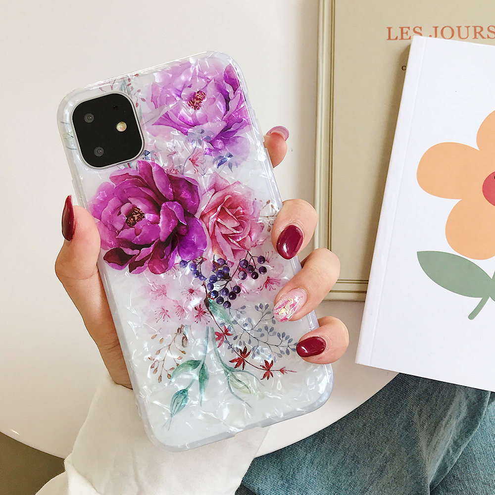 LOVECOM Retro Floral Ring Stand Phone Case For iPhone Models 19