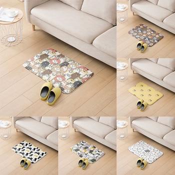 Mini Animal Pattern Floor Mat Home Flannel Carpet Non-slip Absorbent Cute Children Mat Kitchen Living Room Hallway Door Carpet symmetrical pattern door mat