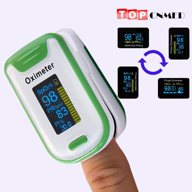 Oxímetro de pulso OLED SPO2 PR PI Índice de Perfusão de Som Beep Configuração de Alarme de Som Monitor de Saturação de Oxigênio No Sangue