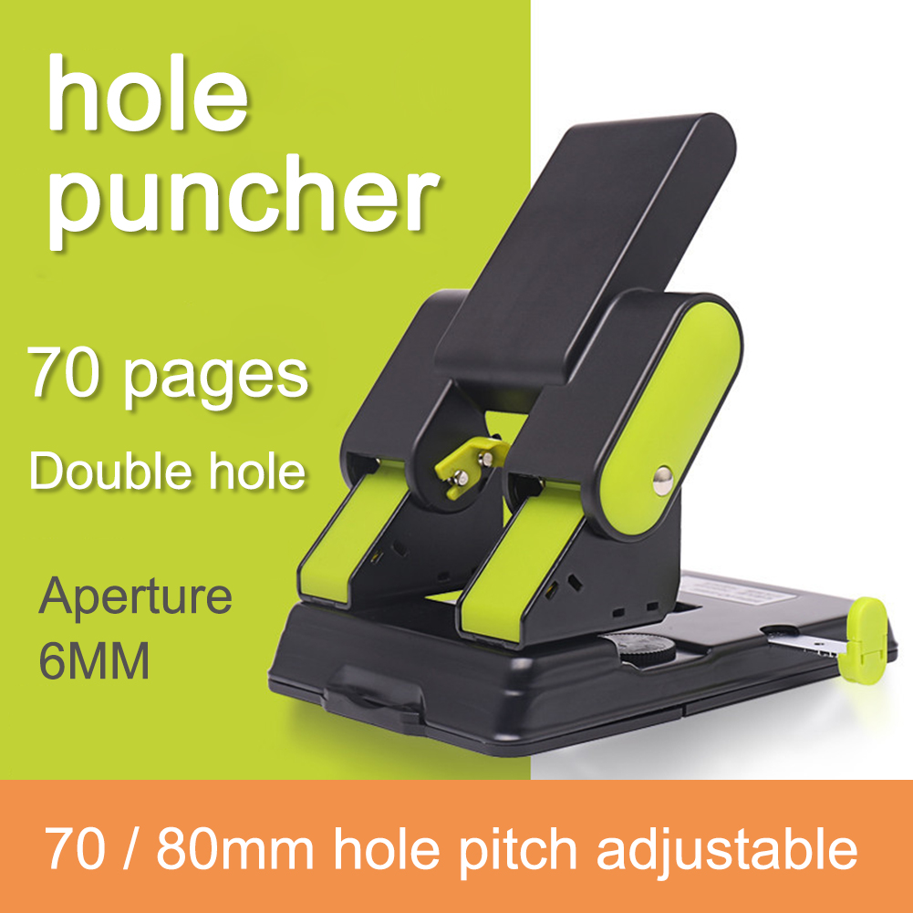 Metal Heavy Duty 2 Holes Puncher Cutter Hand Paper Scrapbooking Punches 70 Pages Paper Hole Puncher Office Binding Stationery