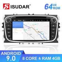 Isudar Car Multimedia player Android 9 GPS Autoradio 2 Din For FORD/Focus/Mondeo/S-MAX/C-MAX/Galaxy RAM 4GB 64GB Radio DSP DVR