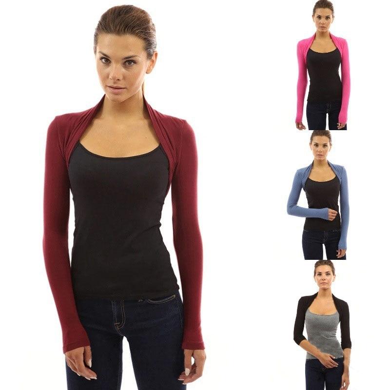 Womens Long Sleeve Bolero Shrug Knit Stretch Cropped Jacket Cardigan Top Sweater