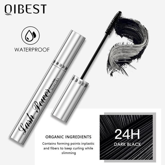 QIBEST Black Mascara Eyelashes Mascara 4D Silky Eyelashes Lengthening Eyelashes Makeup Waterproof Mascara Volume Eye Cosmetics 4
