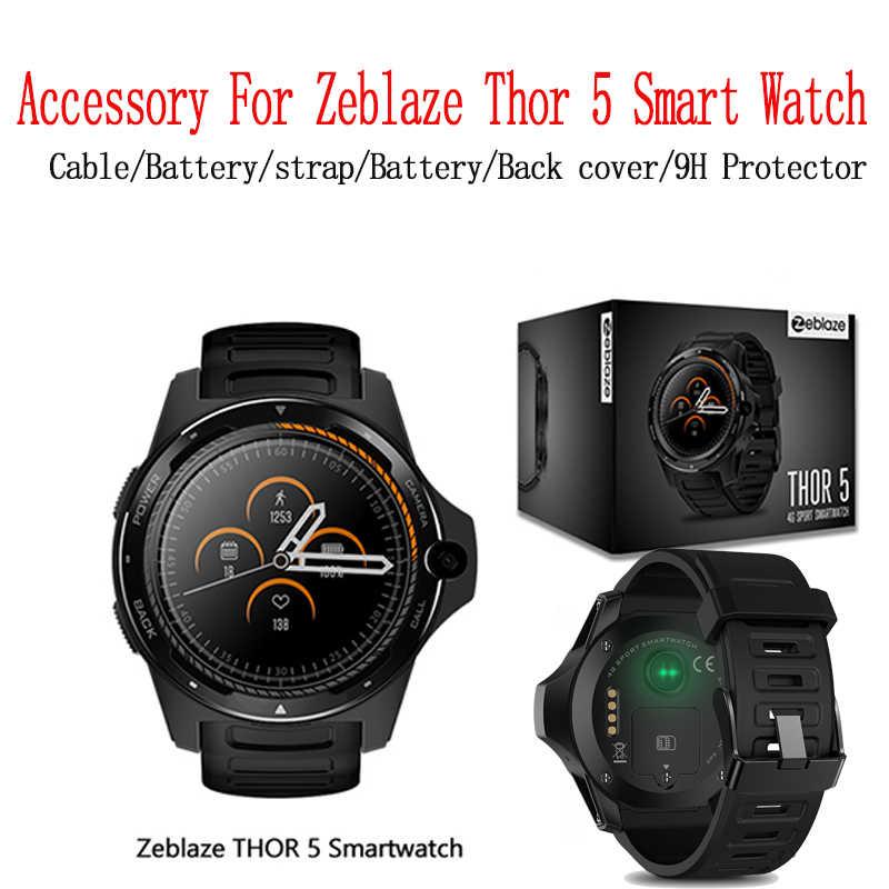 """Accessoire pour Zeblaze Thor 5 montre intelligente câble de charge 4pin alimentation magnétique USB couverture arrière batterie polymère Rechargeable d'origine Zeblaze THOR 5 double système hybride Smartwatch 1.39 """"AOM"""