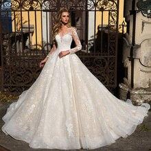 ארוך שרוול אפליקציות תחרה אונליין חתונה שמלות Vestido רנקו כפתורים עד חזרה באורך רצפת נסיכת חתונה שמלות Bodas