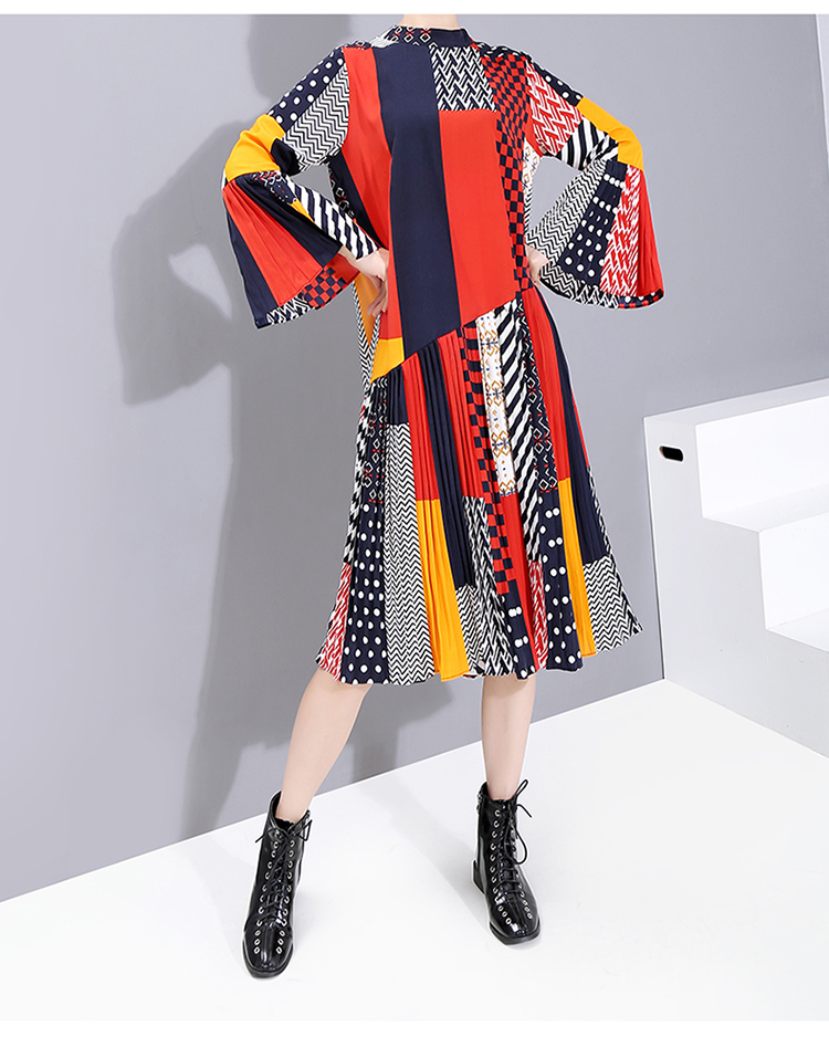 New Fashion Style Flare Sleeve Colorful Printed Patchwork Dress Fashion Nova Clothing