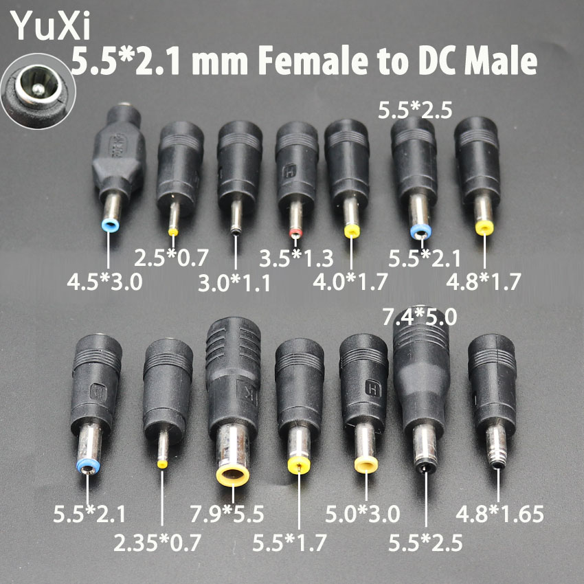 DC 5.5X 2.1 MM Female Jack Plug Adapter Connectors To DC 7.9 5.5 4.8 4.0 3.5 3.0 Mm 2.5 2.1 1.7 1.35 0.7 Mm Male Power Adaptor