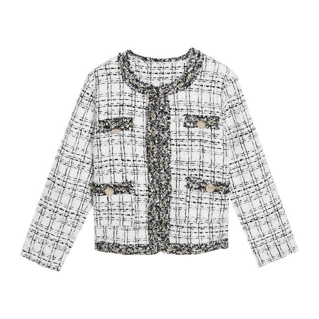 Retro short small Fragrance Jacket Women 2021 Autumn New Korean fashion French jacket Women loose tweed temperament top Female 5