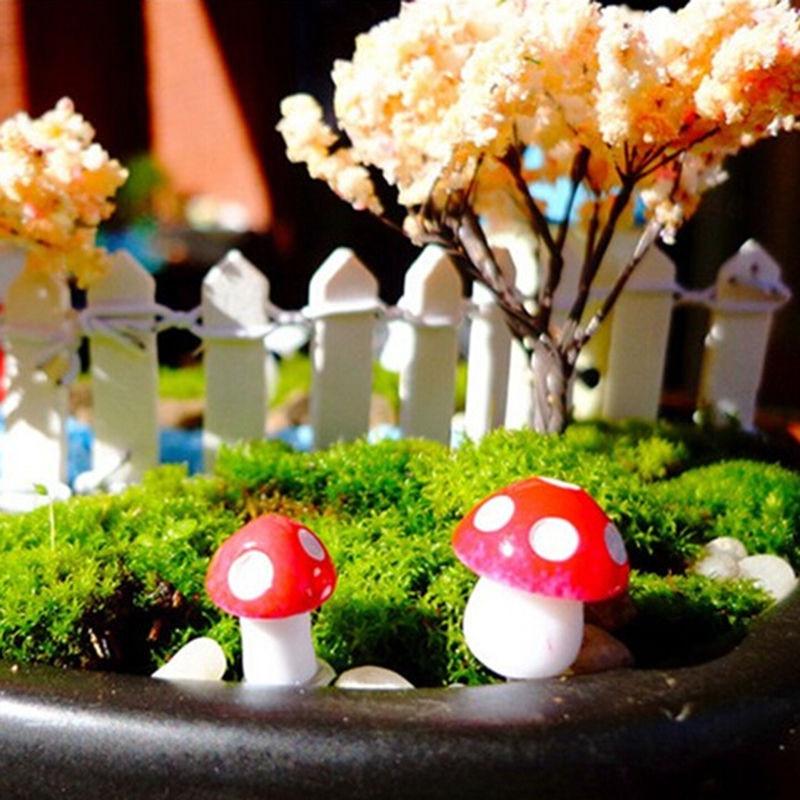 VOGVIGO 10/20Pcs 2CM Artificial Mini Mushroom Miniature Fairy Garden Moss Terrarium Resin Crafts Decorations Stakes Craft