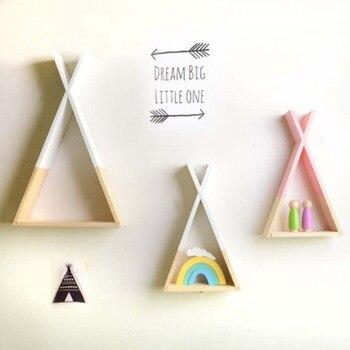 39*23 ซม.สามเหลี่ยมชั้นวางของ Nordic สไตล์เด็กเด็กไม้ชั้นวางของตกแต่งของขวัญ Rack สำหรับห้องนอน Home wall ...