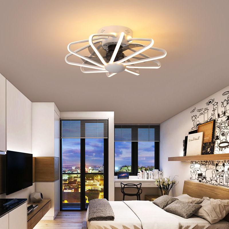 Brand New Restaurant Fan Light Bedroom Ceiling Fan Light Living Room Lamp Integrated LED Fan Light AC220V Pure Copper Motor