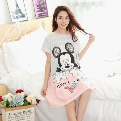 Cartoon Nightgown Mickey Minnie Cute Plus Size Women's Sleepwear Summer Girls Nightwear Comfortable And Loose Sleep Dress