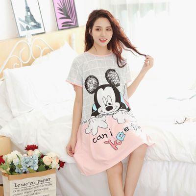 Cartoon Nightgown Mickey Minnie Cute Plus Size Women's Sleepwear Summer Girls Nightwear Comfortable And Loose Sleep Dress