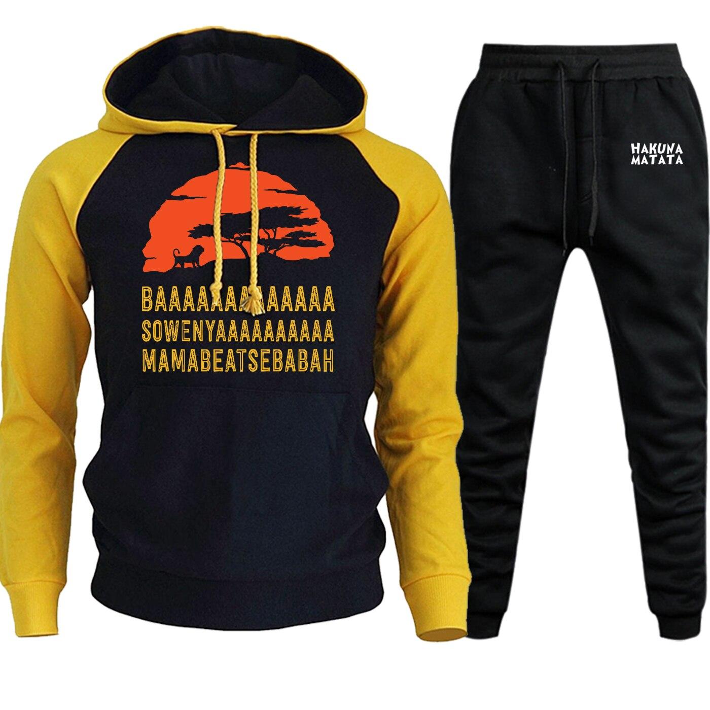 Autumn New 2019 Streetwear Mens Hoodie Raglan The Lion King Cartoon Print Suit Male Casual Pullover Hooded+Pants 2 Piece Set