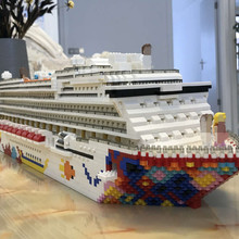 Assembled-Toy Brick Boat Ship Micro-Blocks Mini Building Kids Gift Diamond RK7800 Cruise-Liner