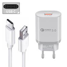 QC 3 0 szybka ładowarka 18W USB adapter ścienny typ C Micro Charge kabel telefoniczny dla Xiaomi Mi POCO X3 F2 Redmi 3S 9A uwaga 5 6 7 8 9 Pro tanie tanio udapakoo CN (pochodzenie) 1 Port Podróży Ac Źródło ROHS YSY-6044 Qualcomm szybkie ładowanie 3 0 9 V 2A for LG G5 G6 G7 ThinQ V40 V30 Stylo 4 5 Nubia Z17 Mini s