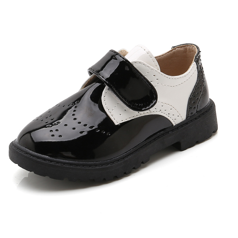 NEW 2020 Boys Black Leather Shoes School Performance Shoes Kids Girls Platform Patent Leather Shoes Children Party Wedding Shoes