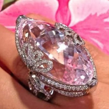 Temperament Pink Alec White Diamond Ring Openwork Elegant Lady Engagement Ring Fashion Jewelry Wholesale(China)