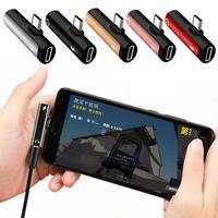 Neue 2 In 1 Typ C Zu 3,5mm Jack Kopfhörer Lade Konverter USB Typ-C Audio Adapter Für xiaomi 6 Huawei P10 Mate 20
