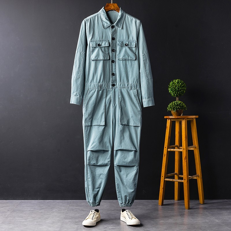Hip Hop Unisex Costumes Casual Cargo Jumpsuits Long Sleeve Single Breasted Top Full Length Pants Male Loose Overalls Plus Size