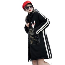 Vefadisa Letter Print Winter Hooded Parkas Women Cotton Wool-Blend Coat Hoodies Knee Length Thick  Long ZLD185
