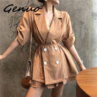 Genuo Feminino Loose Blazer Suits Women Spring Summer 2019 New Trend Short Sleeve Casual Blazer Suits Plaid Vintage Women Sets
