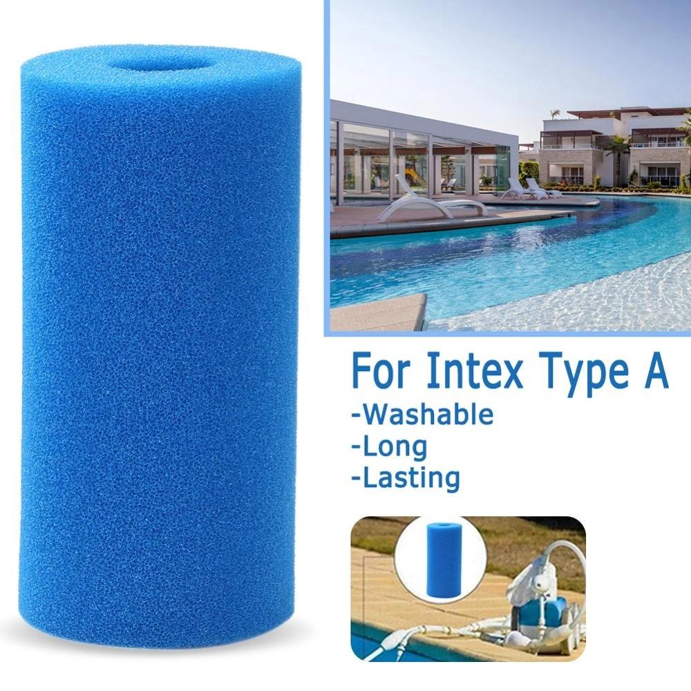 Pool Filter Cartridges 2PCS Swimming Pool Filter Sponge for Intex Type A Washable Foam Cartridge Reusable Replacement Swimming Pool Sponge Cleaner Foam Filter Pools Accessories