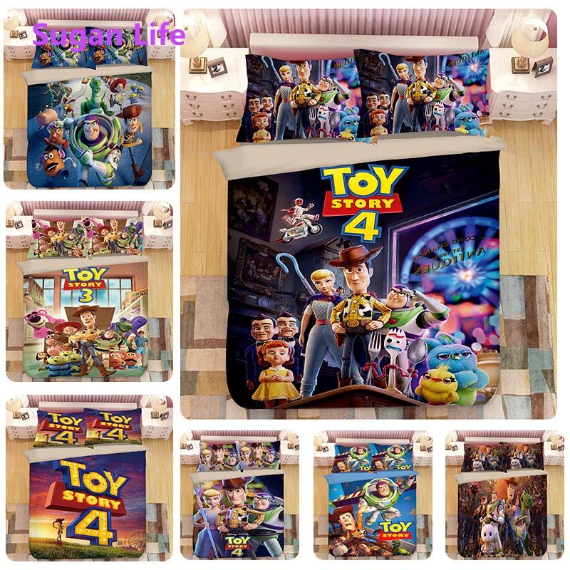 Nouveau Cartoon bas impression literie housse de couette ensemble Disney jouet histoire literie garçon enfants chambre décor 100% coton taie d'oreiller