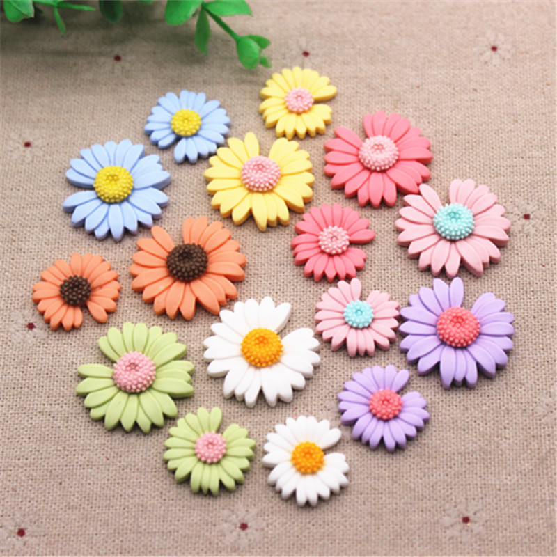 21mm/26mm Mix Spring Colors Cute Resin New Daisy Flower Flat Back Cabochon DIY Jewelry/Craft Scrapbook Decoration