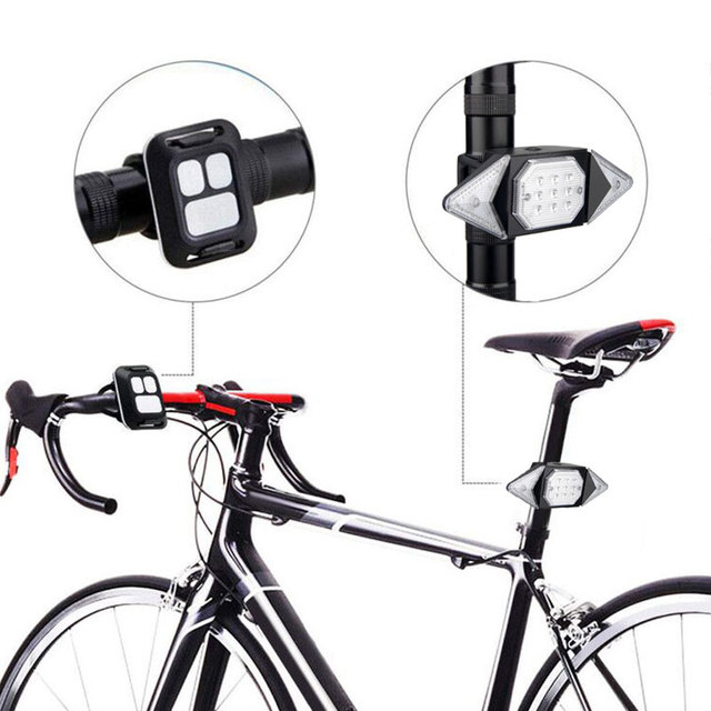 Bicicleta inteligente girando sinal ciclismo lanterna traseira inteligente usb recarregável luz traseira controle remoto led aviso lâmpada 4