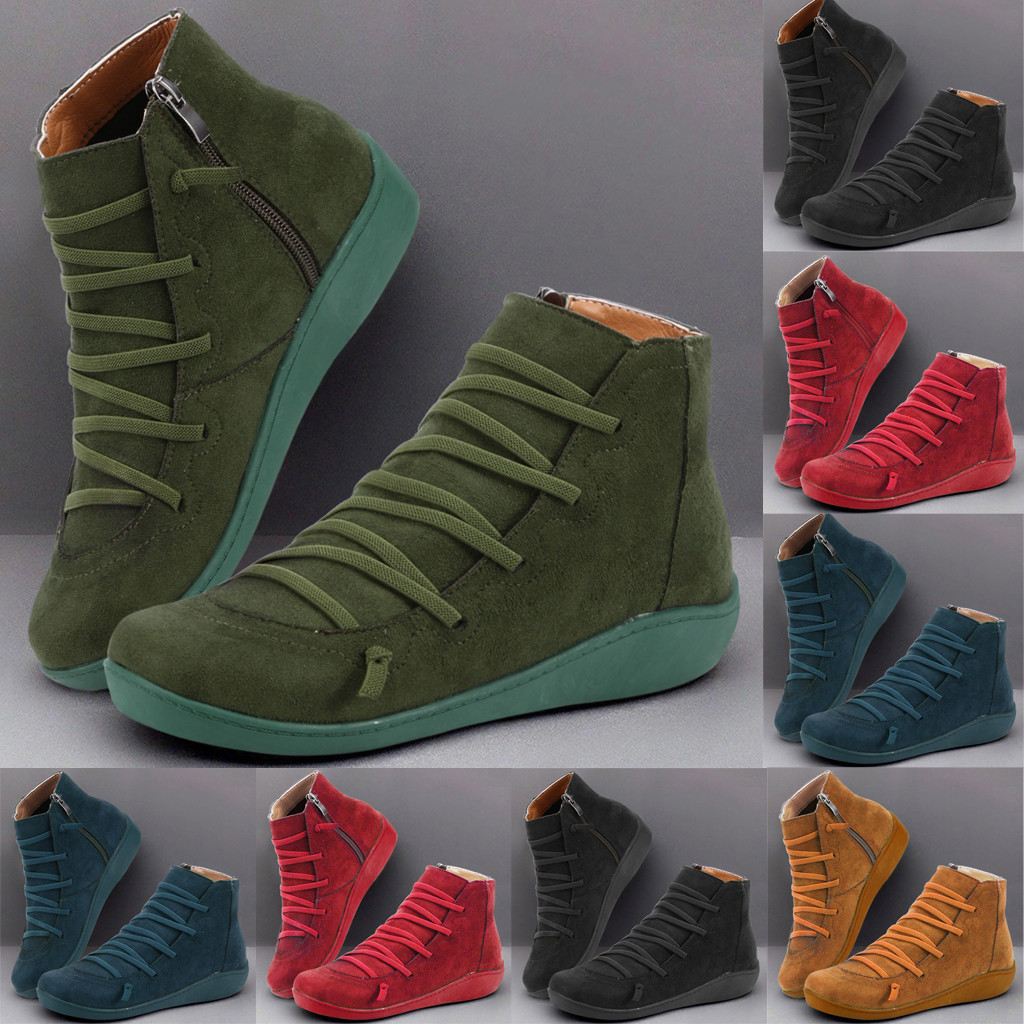Women Boots Women's Winter Boots Shoes Women's Ladies Casual Flat Flock Retro Lace-up Side Zipper Round Toe Shoes Boots Ankle#11