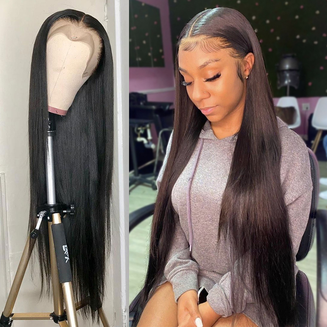 13x4 Straight Lace Front Wig Human Hair 30 Inch Full Hd Transparent