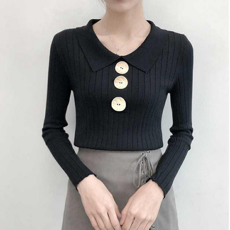 Women Autumn Winter Sweaters Solid Color Slim Korean Knitted Long-Sleeved Lapel Button Bottom Knit Jumper Pull Femme
